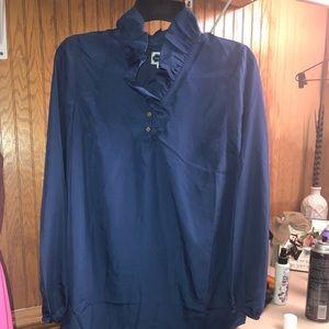 Ruffle Neck Blue Tunic